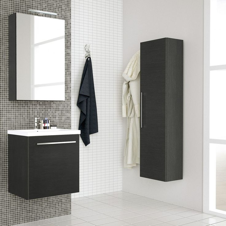 Albero Design Lucca Badezimmer Hochschrank 137cm, Mit 1 Tür   Eiche Dunkel