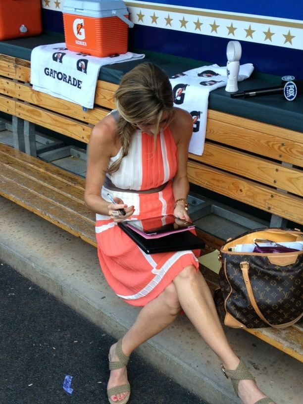 Erin Andrews Brings Her Big Purse to the Dugout