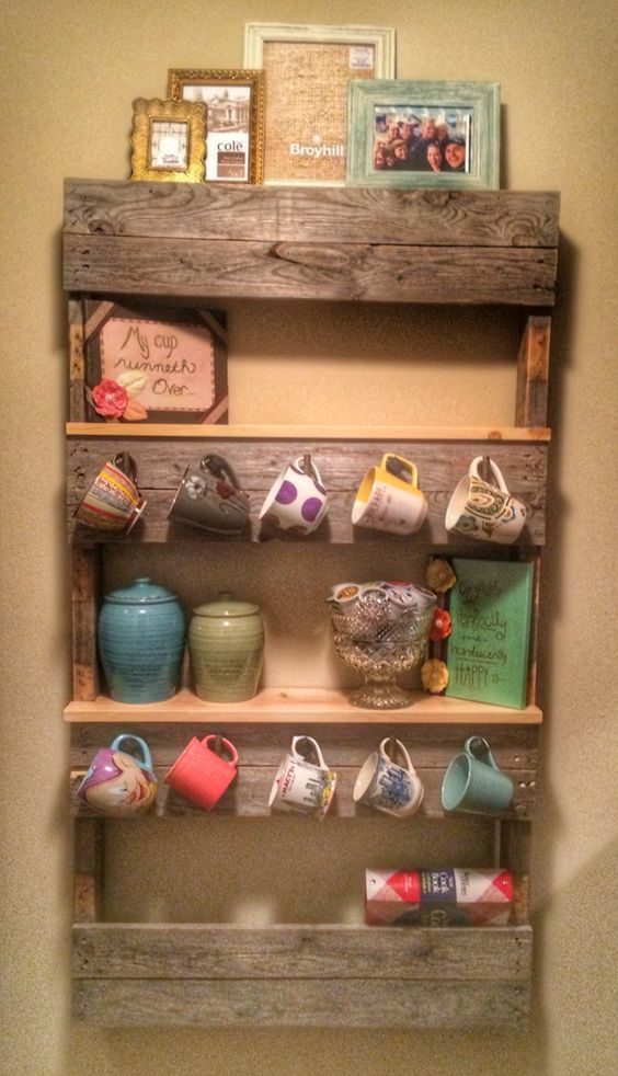 Pallet Shelf Coffee Mug Rack