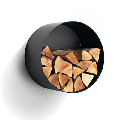 Habitat Circle Satin Black Wall Mounted Log Store