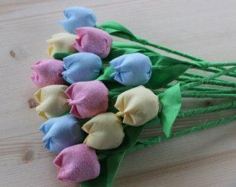 Bouquet di fiori tessuto tulip bouquet tessuto cotone di anniversario di fiori rosa blu giallo fiori cotone bouquet compleanno bouquet fiore di Pasqua