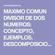 MAXIMO COMUN DIVISOR DE DOS NUMEROS: CONCEPTO, EJEMPLOS, DESCOMPOSICION EN NUMEROS PRIMOS: TEST Y EJERCICIOS RESUELTOS PASO A PASO: SECUNDARIA, ESO