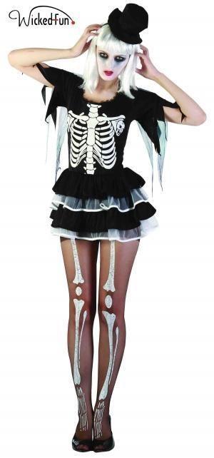 Womens Ladies Skeleton Witch Fancy Dress Top Hat Tutu Costume Bones Day of Dead  #WN #Dress