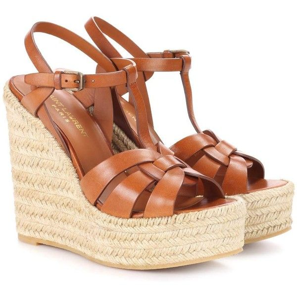 Saint Laurent Leather Espadrille Wedge Sandals ($830) ❤ liked on Polyvore featuring shoes, sandals, brown, wedge sandals, leather espadrille sandals, brown wedge shoes, brown espadrilles and leather wedge sandals