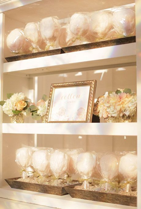 Brides.com: . Spun sugar treats aren't just for the kids. Package gourmet cotton candy favors in refined flavors like salted caramel or lemongrass. Bonus points if you hire a vendor to hand-make the treat for guests right at the reception.