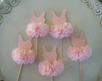Ballet Tutu Cupcake Toppers Set of Six for Ballerina by JeanKnee