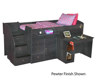 New Berg 22-721 and 22-722 twin and full size Sierra captains bed with hideaway pull out desk and stairs by berg furniture