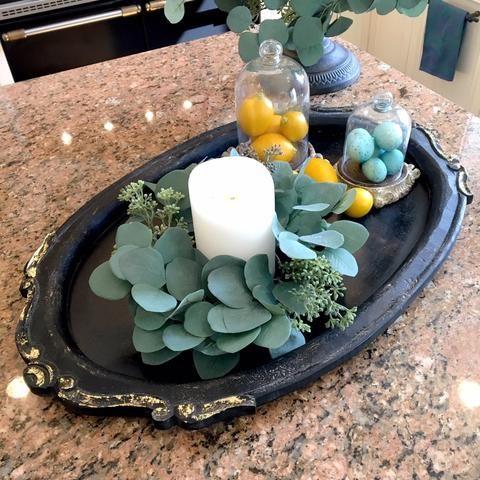 Lisa Robertson blackwood oval antique tray