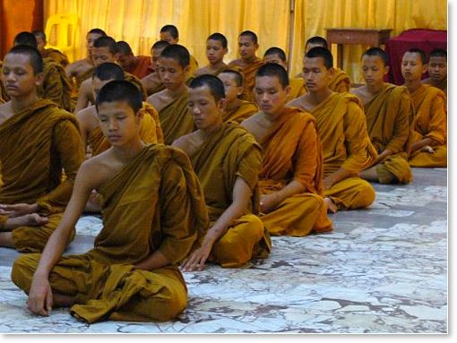 Buddhist monks group meditation