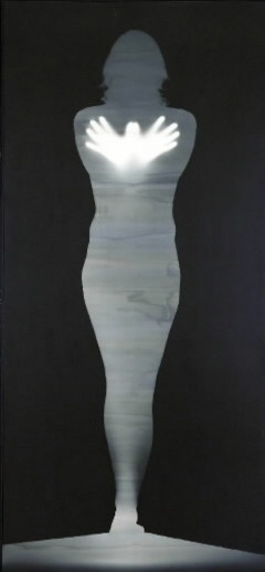 "Bruce Conner, ""Butterfly Angel,"" gelatin silver photogram, 1975, 89 x 38″"