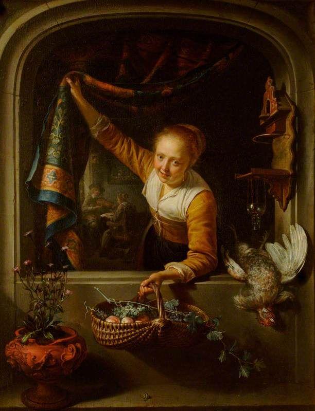 Gerard Dou. Jonge vrouw met mand met vruchten in een venster. 1657. National Trust, Waddesdon Manor. Door het tapijt krijgt het tafereel iets toneelachtig en het symboliseert ook de rijkdom van het deftige gezelschap dat muziek maakt op de achtergrond. Mogelijk heeft het werk een erotische betekenis. Door de dode vogel, het lege vogelhuisje, en de vogelkooi op de achtergrond. Het woord vogel betekende ook copulatie. De kortbloeiende bloemen wijzen op de vergankelijkheid van het leven.