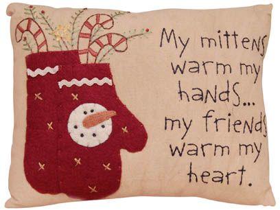 "Prim Christmas Pillow ""Friends Warm My Heart""-Primitive Christmas Pillow"