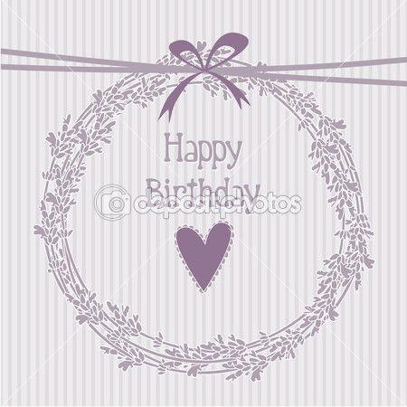Романтический день рождения с лаванды венок, приглашение, Векторный фон —…