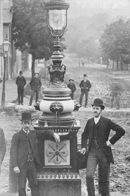 Fountain at Memorial Square, Opposite Sydenham Street. Left to Right: Tom Mountain, W.A. Davidson.