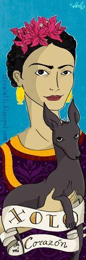 Separador Xolo de mi corazó. Frida Kahlo con xolo Blog: itzcuintli.blogspot.com