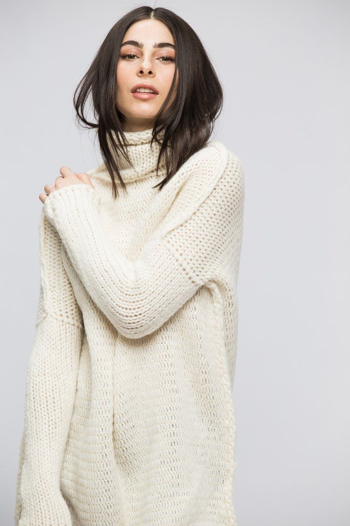 37eb8d47c834 Off white Chunky knit Alpaca women sweater dress. Cyber week Sale 15% off.  Shop now.