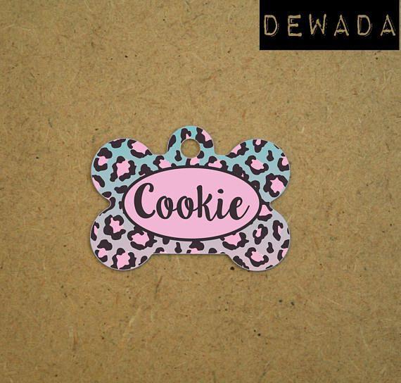 Custom dog tag animal print pink