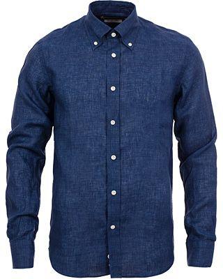 Morris Heritage New Button Down Linen Shirt Blue i gruppen Realisation / Skjortor hos Care of Carl AB (11750411r)