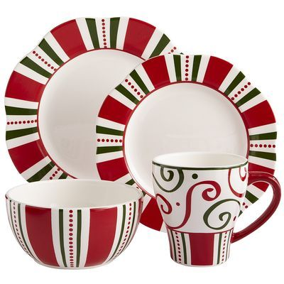 Christmas Stripes Dinnerware from Pier One. Fun! And great for mix-n-  sc 1 st  Pinterest & 269 best Dinnerware images on Pinterest | Dinnerware Flatware and ...