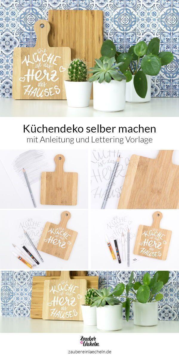 Küchendeko selber machen: Weißes Lettering auf Holzbrett
