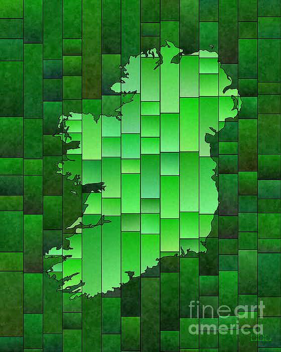 Ireland Map Glasa Green by elevencorners. Ireland map wall print decor. #elevencorners #mapglasa #ireland