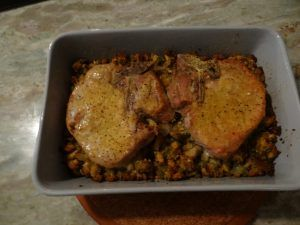Baked Pork Chops with Stuffing - Who doesn't like stuffed Pork Chops? They're just the best on a cold winter evening, but really, who has the time. Here's an easy way to put a great dinner on the table in a little over an hour.