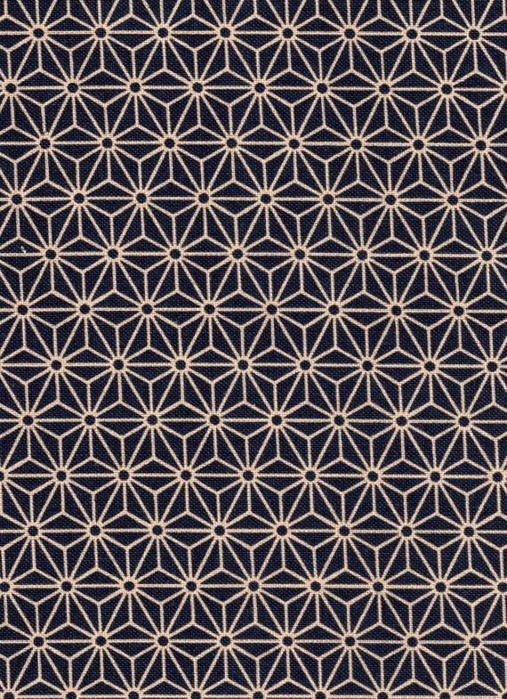 Navy Asanoha Hemp Leaf Japanese cotton fabric for by KimonoARTUK, £12.00