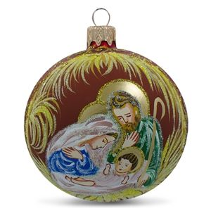 Holy Family Admires Jesus Nativity Religious Christmas Glass Ball Ornament Holiday Gift Idea