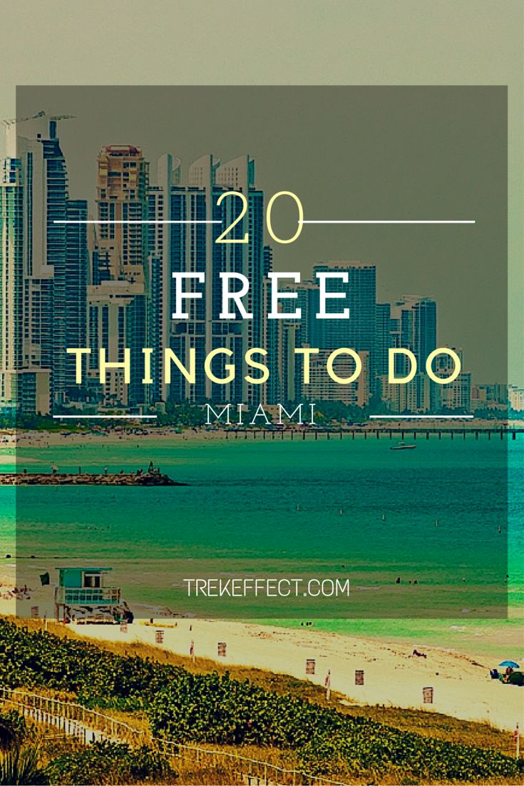 You don't have to own a bank account the size of a Kardashian in order to experience Miami in style. The bustling metropolitan, with white sandy beaches and miles of ocean shoreline, has all the amenities of a fancy resort town city but with plenty of options for those on the budget tour. #cheaptravel #budgettravel (20 Free Things to Do in Miami | Trekeffect)