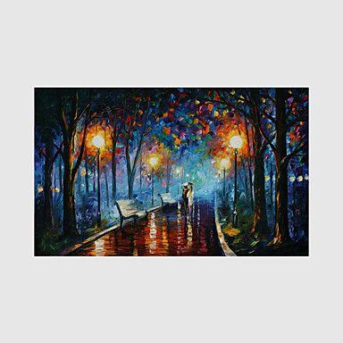 【今だけ☆送料無料】現代 アートなモダン キャンバスアート アートパネル 自然・風景画1枚で1セット 公園 ストリート ガス灯 傘をさす【納期】お取り寄せ2~3週間前後で発送予定
