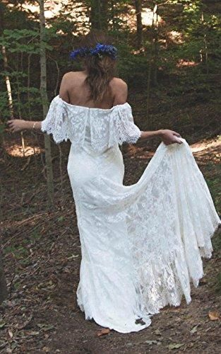 239aa671349e Off-Shoulder Court Train Lace A Line Boho Beach Wedding Dress in ...