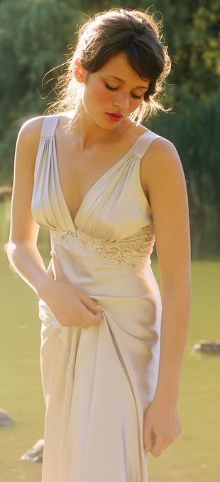 A beautifully photographed silk ivory long nightdress