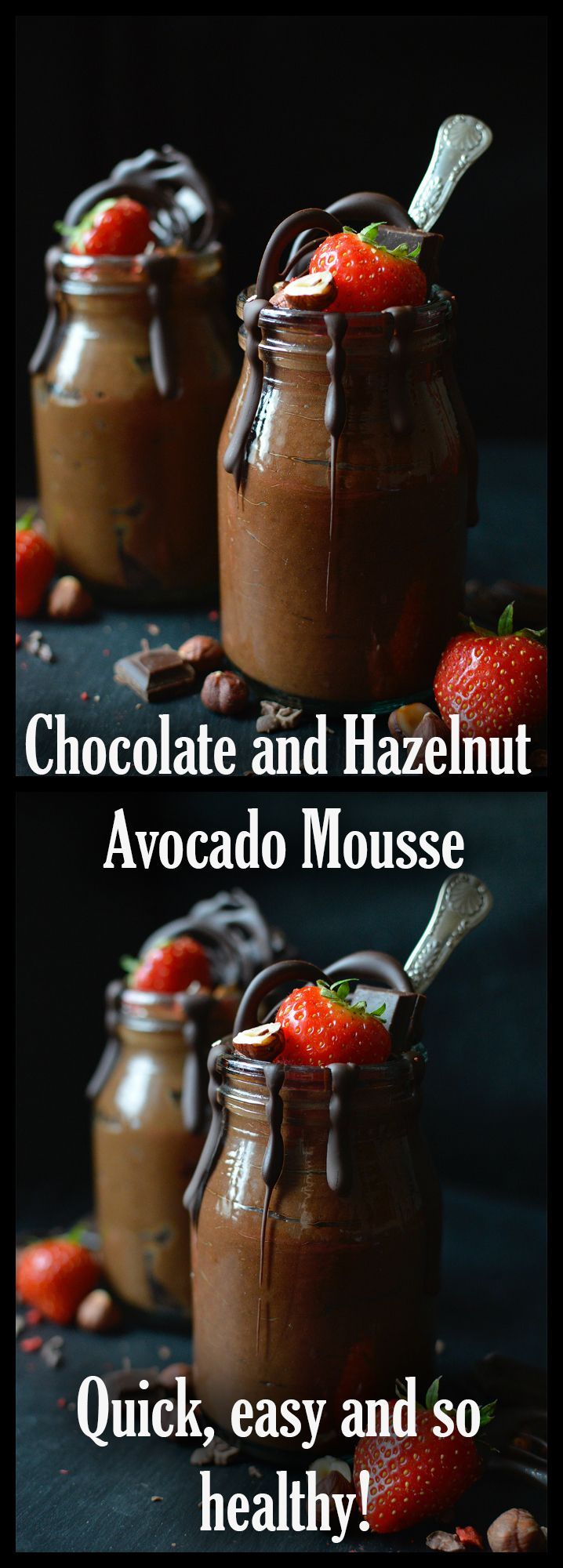 Perfectly light, whipped #vegan chocolate and hazelnut avocado mousse. It's quick and easy to make, and so healthy too!