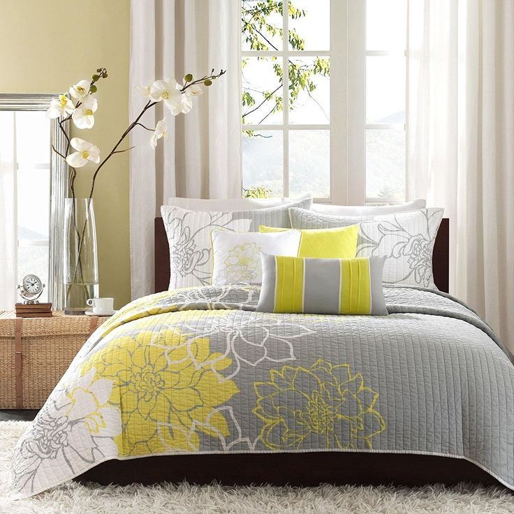 Stunning Grey Yellow White Full Queen Coverlet Set Stylish Contemporary Floral Themed Bedding Sunny Slate Modern Gorgeous Summer Lily Pretty Slate