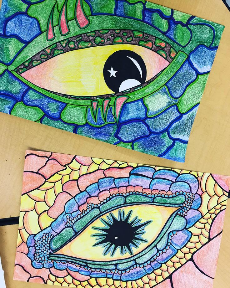 It's the last week of the first quarter! Here are my examples for our eye of the dragon unit. The top one is markers and colored pencils and the bottom one is colored pencils only.