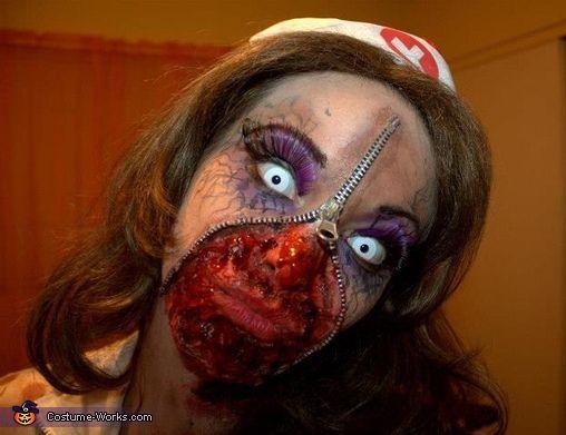 zombie nurse halloween costume | Zipper Zombie Nurse - Homemade costumes for women