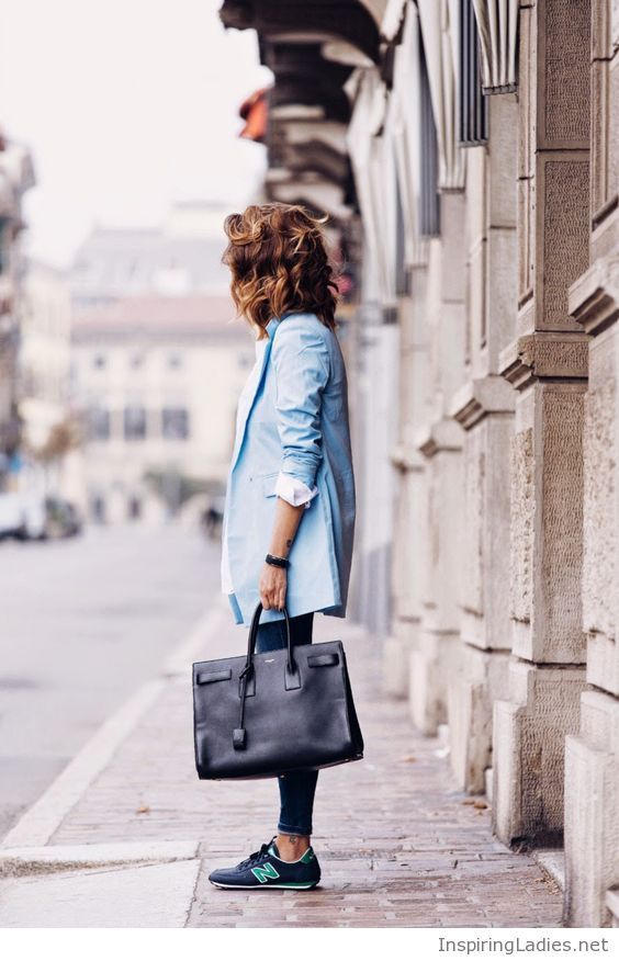Blue coat and NB shoes | Inspiring Ladies