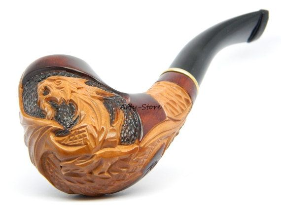 Tobacco Smoking Pipe   Dragon  9mm filter Hand carved by ArtyStore