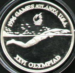 100 lei 1996 Atlanta - swimming - butterfly men - reverse