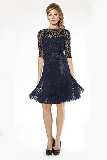 Navy Lace Cocktail Dress with Sleeves | Teri Jon