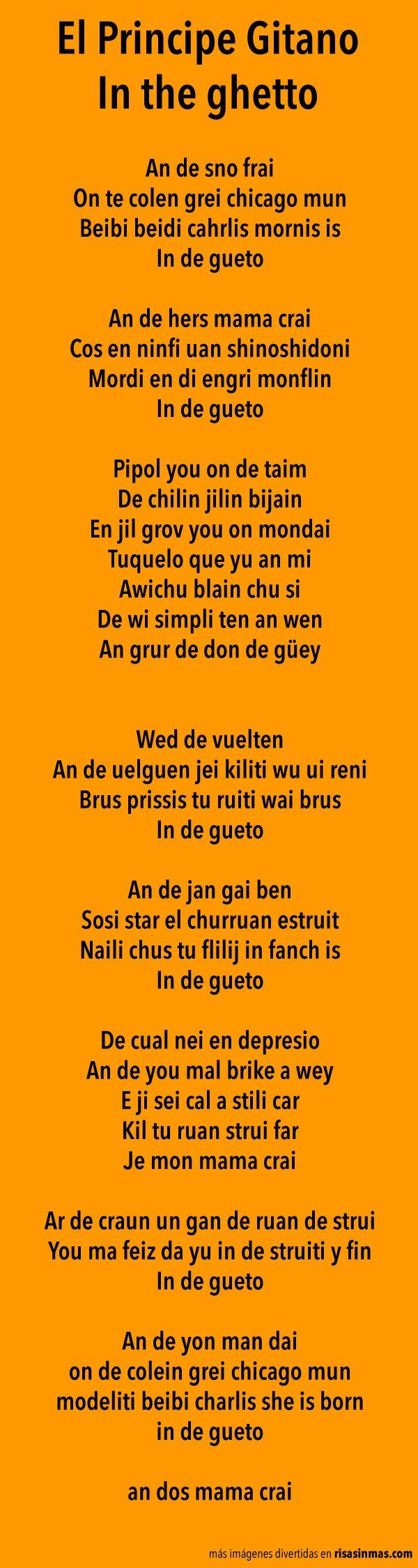 Versiones de canciones: El Principe Gitano – In the ghetto