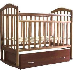"""Антел """"Алита-6"""" (орех)  — 6380р. ------------------------------- Тип кроватки кроватки с продольным качанием    Возраст ребенка От 0 месяцев  Пол ребенка унисекс  Цвет орех  Материал дерево  Ящик под кроватью да  Матрас в комплекте нет  Опускающаяся стенка да  Съемная передняя стенка да  Вынимающиеся рейки нет  Силиконовые накладки да  Число уровней высоты днища 2  Стопор колес нет  Комод нет  Пеленальный стол нет  Маятник да"""