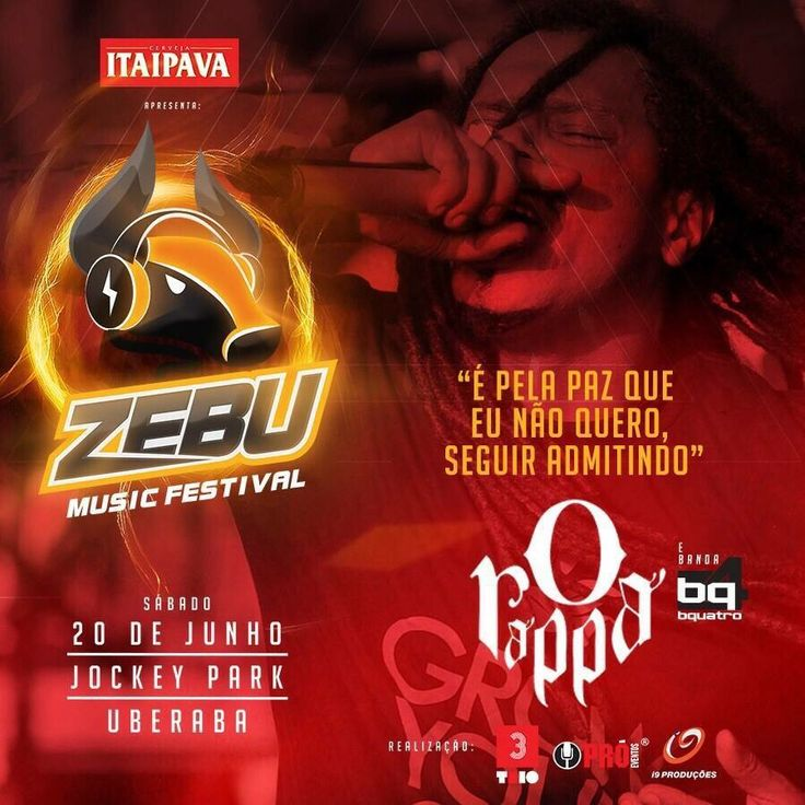 Zebu Music Festival com O Rappa e Banda Bquatro, dia 20/06 em Uberaba, no Jockey Park. **Vendas de convites limitados na Takanori! #orappa #bquatro #zebumusicfestival #sucesso #imperdivel #openbar #jockeyparqueuberaba #uberaba #proeventos #takanori  Informações • Pró Eventos Shopping Uberaba • www.proeventos.com.br