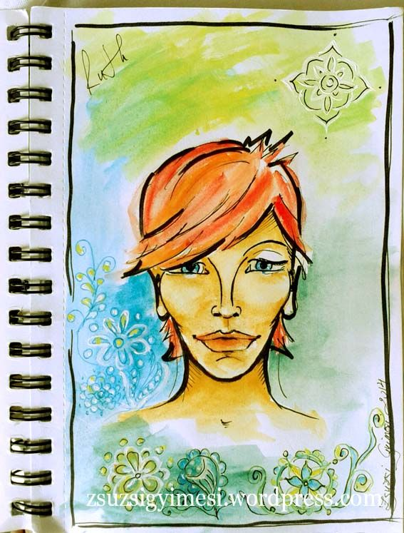 www.facebook/Babcyartanddesign  A friend  Watercolor and ink