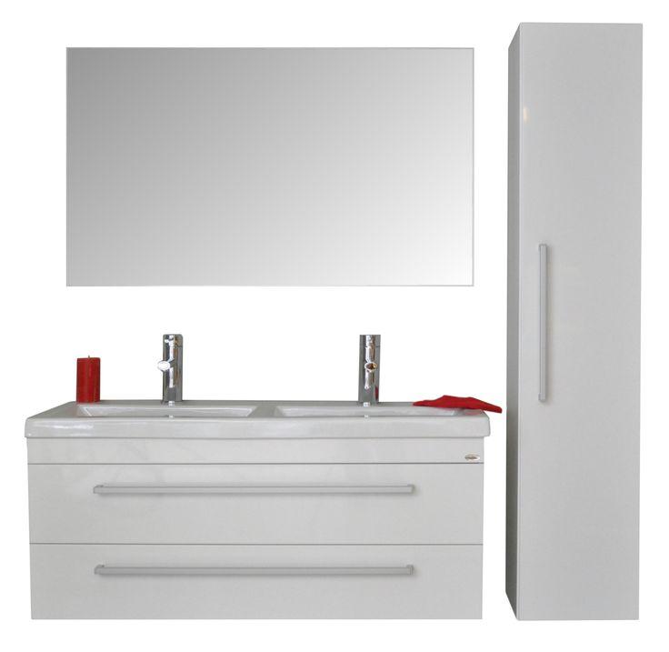 Badmeubel Q1 - 120 !   Luxe en ruimte !   Een badmeubel in het hoogglans wit, antraciet, schots-eiken en truffel.   Voorzien van een ruime keramische dubbele wastafel en met een uitgebreide keuze aan spiegels,   kolomkasten en spiegelkasten.    Twee soft-close zelfsluitende lades - keramische wastafel - spiegel met of zonder design verlichting -   spiegelkasten - half hoge kolomkast - hoge kolomkast etc.