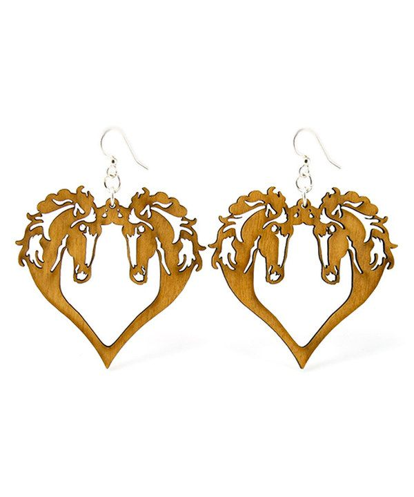 c6efc1d167 Look at this Tan Horse Heart Drop Earrings on #zulily today! Lógós  FülbevalóLézervágott ...