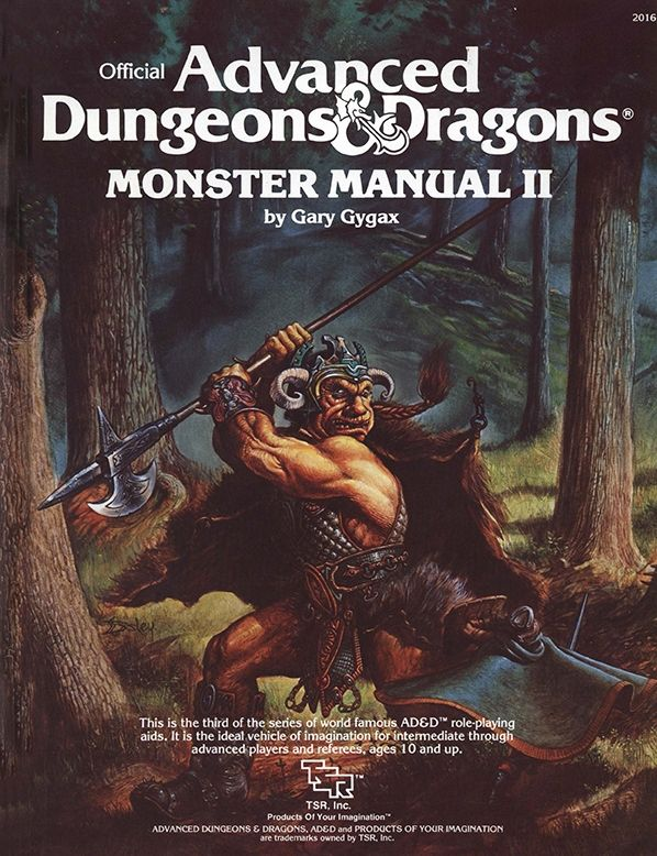 Monster Manual II (1e) | Book cover and interior art for Advanced Dungeons and Dragons 1.0 - Advanced Dungeons & Dragons, D&D, DND, AD&D, ADND, 1st Edition, 1st Ed., 1.0, 1E, OSRIC, OSR, Roleplaying Game, Role Playing Game, RPG, Wizards of the Coast, WotC, TSR Inc. | Create your own roleplaying game books w/ RPG Bard: www.rpgbard.com | Not Trusty Sword art: click artwork for source
