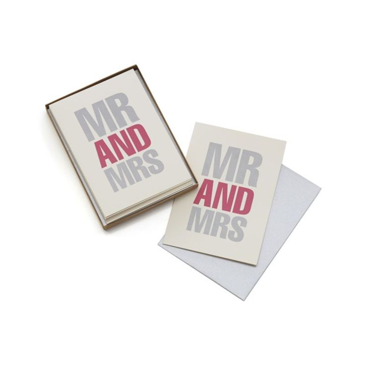 Bold graphic notecards designed by Martin Yeeles pair silver and rosy red in modern type to proclaim engagements and marriage or send greetings from the happy couple.  Inside is left blank for personal notes. PaperBlank insideMade in USA.