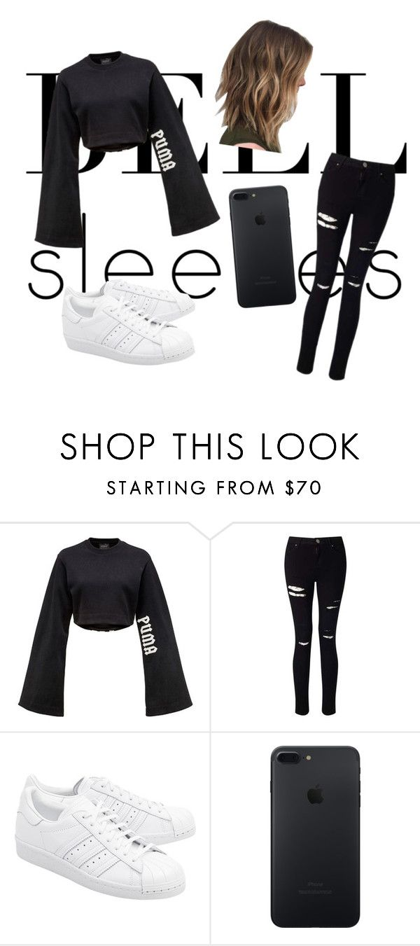 """Bell Sleeves Athletic Look"" by mariannefinlay ❤ liked on Polyvore featuring Puma, Miss Selfridge and adidas Originals"