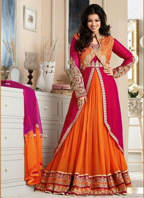 #AyeshaTakia Fabulous #Red & #Orange #Emroidered #AnarkaliSuit